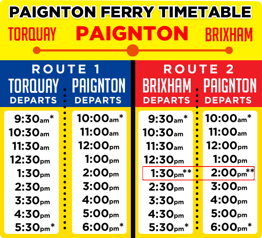 New for 2017 - Our Paignton Ferry Timetable